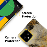 Yellow and Black Marble Cover Case for Google Pixel 4