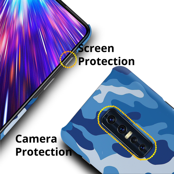 Blue Abstract Camouflage Cover Case for Vivo V17 Pro