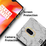 Grey & Black Marble Cover Case For OnePlus 6T
