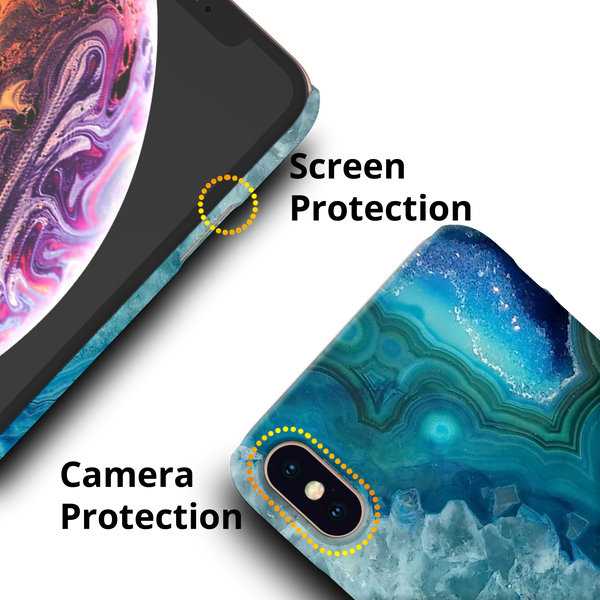 Blue Agate Cover Case for  iPhone XS Max