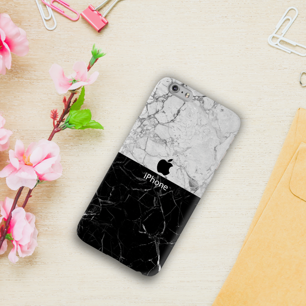 Grey & Black Marble Cover Case For iPhone 6/6S Plus