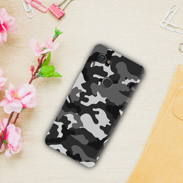 Black Abstract Camouflage Cover Case For Google Pixel 2 XL