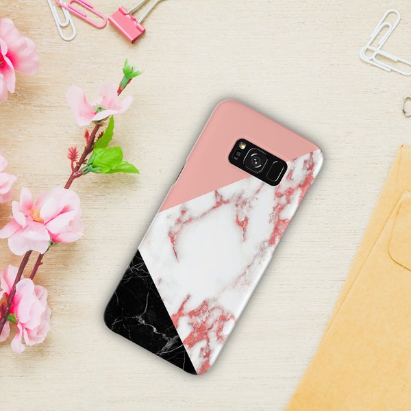 Peach Geometric Marble Cover Case For Samsung Galaxy S8