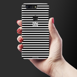 Jet Black and White Stripes Cover Case for OnePlus 5T