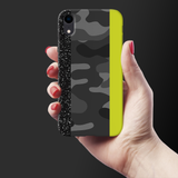Black Camoflage and Neon Pattern Cover Case for iPhone XR