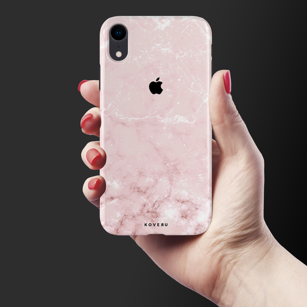 Baby Pink Marble Cover Case For iPhone XR