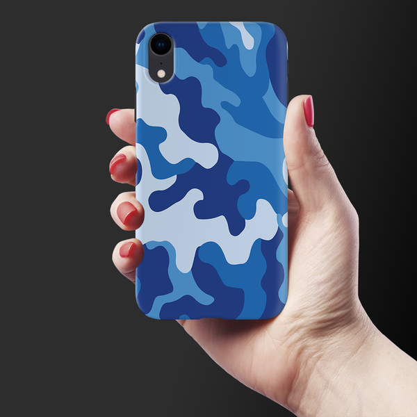 Blue Abstract Camouflage Cover Case For iPhone XR