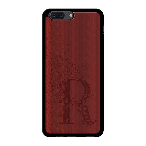 R Wooden Engraved Cover Case for Oneplus 5