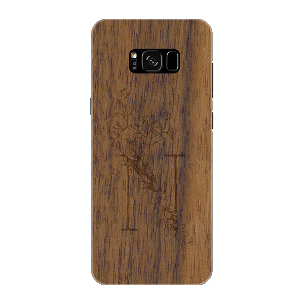 N Wooden Engraved Cover Case for Samsung Galaxy S8