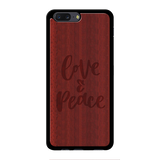 Peace and love Wooden Engraved Cover Case for Oneplus 5
