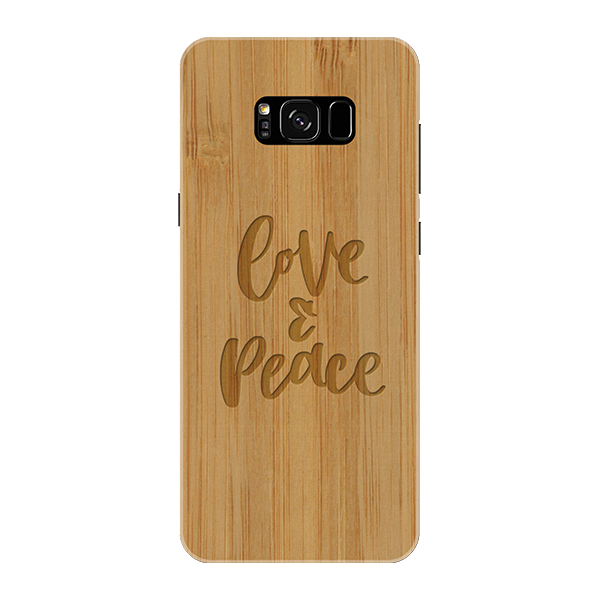 Peace and love Wooden Engraved Cover Case for Samsung Galaxy S8