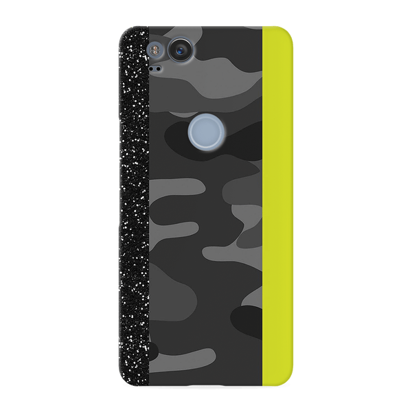 Black Camoflage and Neon Pattern Cover Case for Google Pixel 2