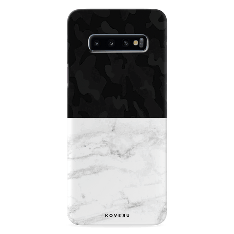 White Marble and Black Camouflage Pattern Cover Case for Samsung Galaxy S10 Plus