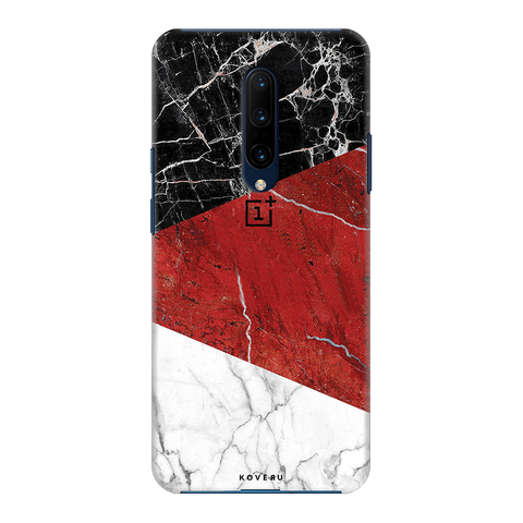 Red Geomatric Marble Cover Case for OnePlus 7 Pro