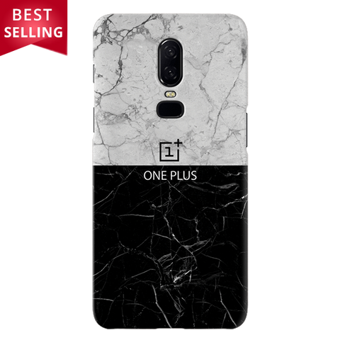 Grey & Black Marble Cover Case For OnePlus 6
