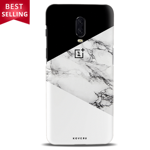 Geometric White Marble Textured Cover Case For OnePlus 6T