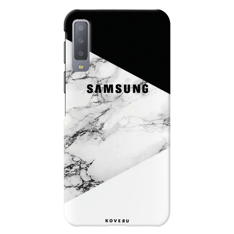 Black and White Marble Cover Case for Samsung Galaxy A7 2018