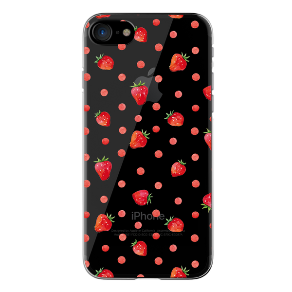 Strawberry Clear Case For iPhone 7/8