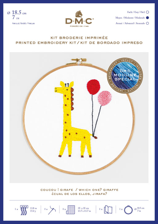 Printed Embroidery Kit - Giraffe