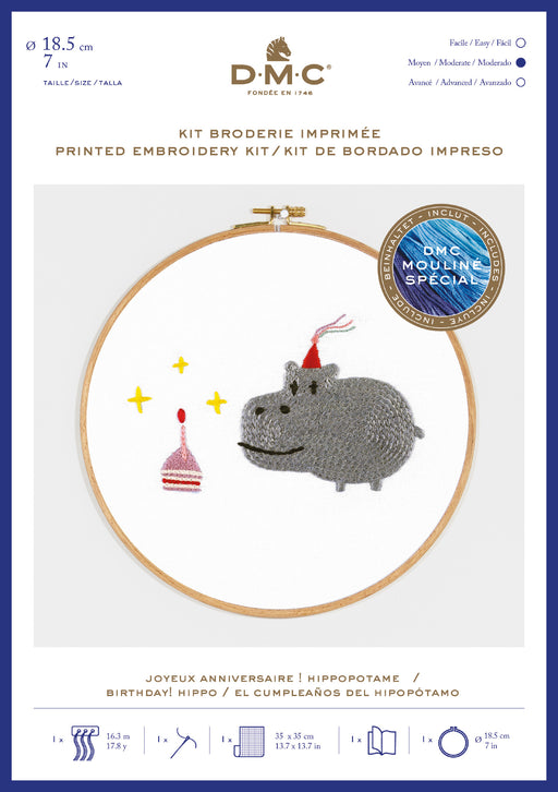 Printed Embroidery Kit - Hippopotamus