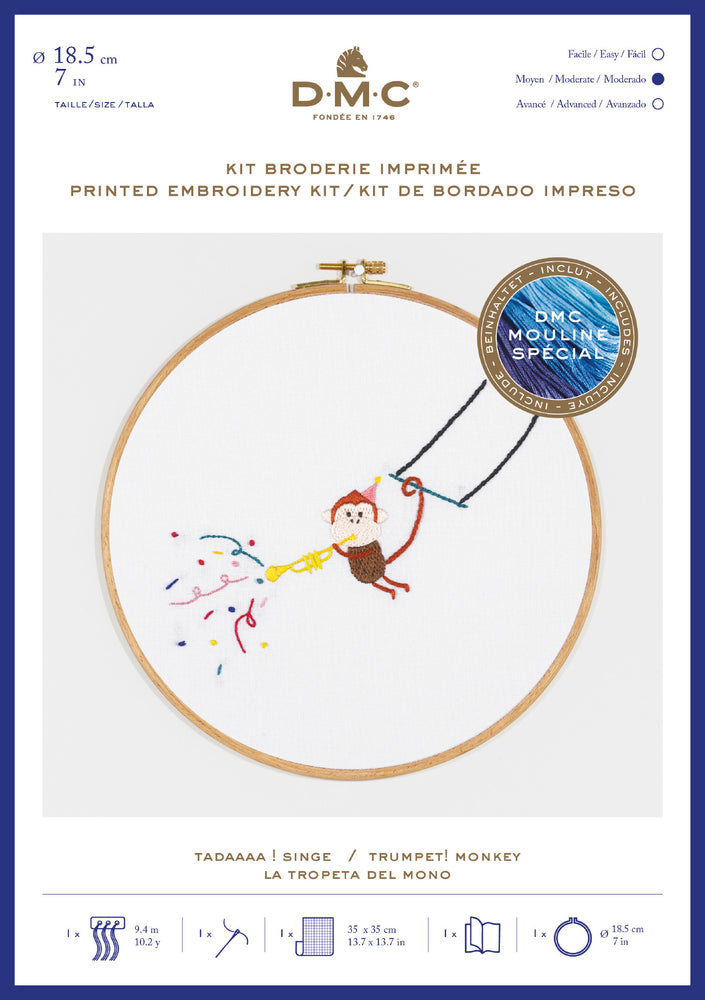 Printed Embroidery Kit - Monkey