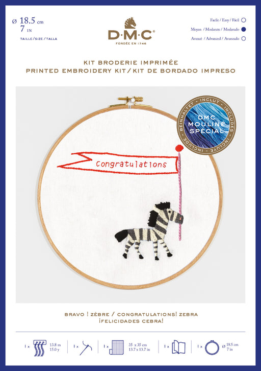 Printed Embroidery Kit - Zebra