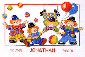 Clowns Birth Sampler