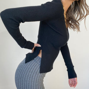 Leeds Ribbed Long Sleeve Side Slit Sweater