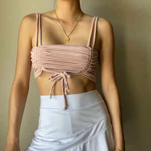 Temecula Double Tie Ruched Crop Top