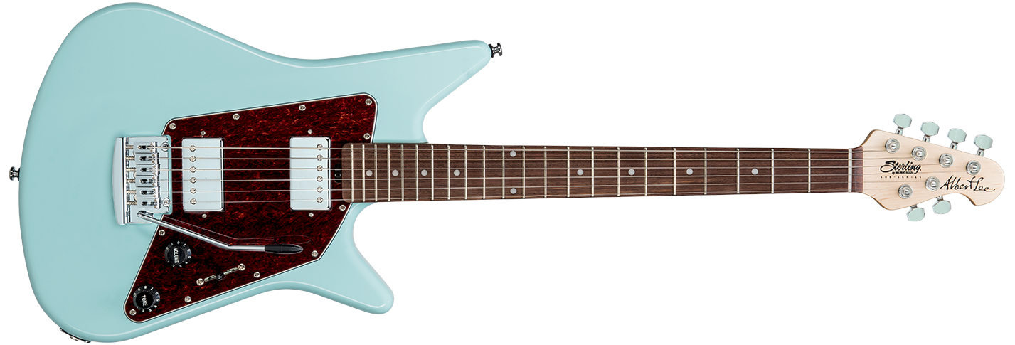 The Albert Lee guitar in Daphne Blue front details.