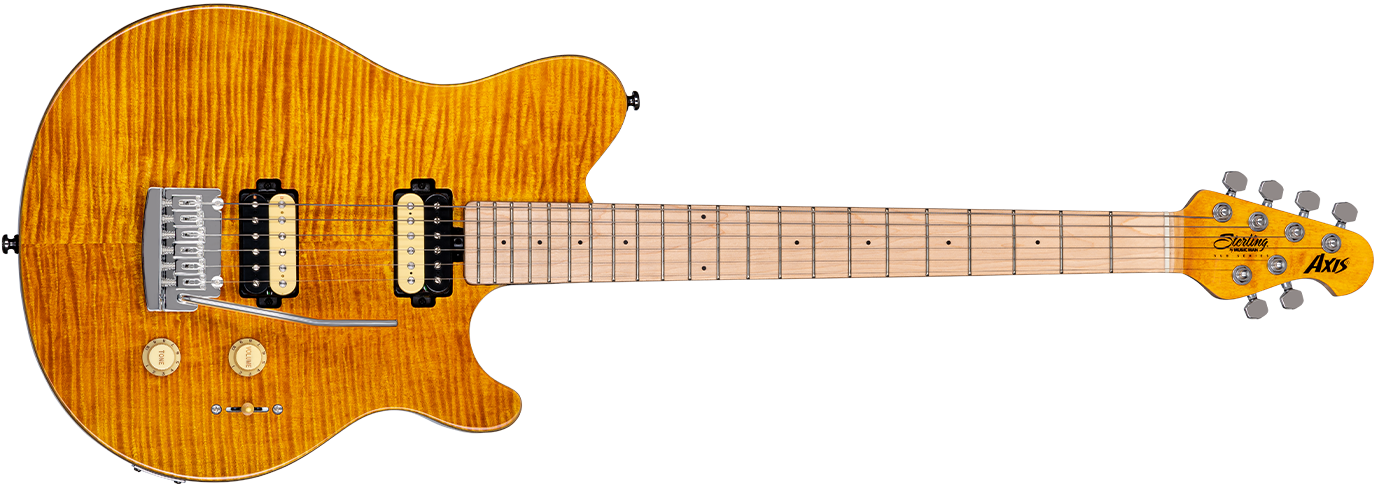 The Axis Flame Maple guitar in Trans Gold front details.