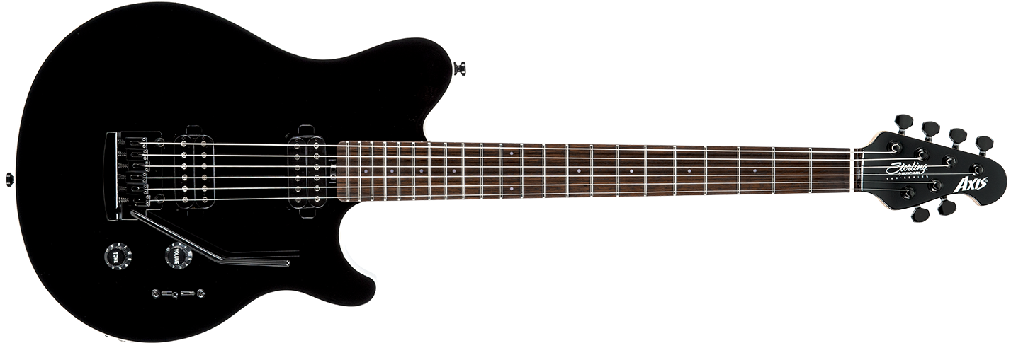 The Axis guitar in Black front details.