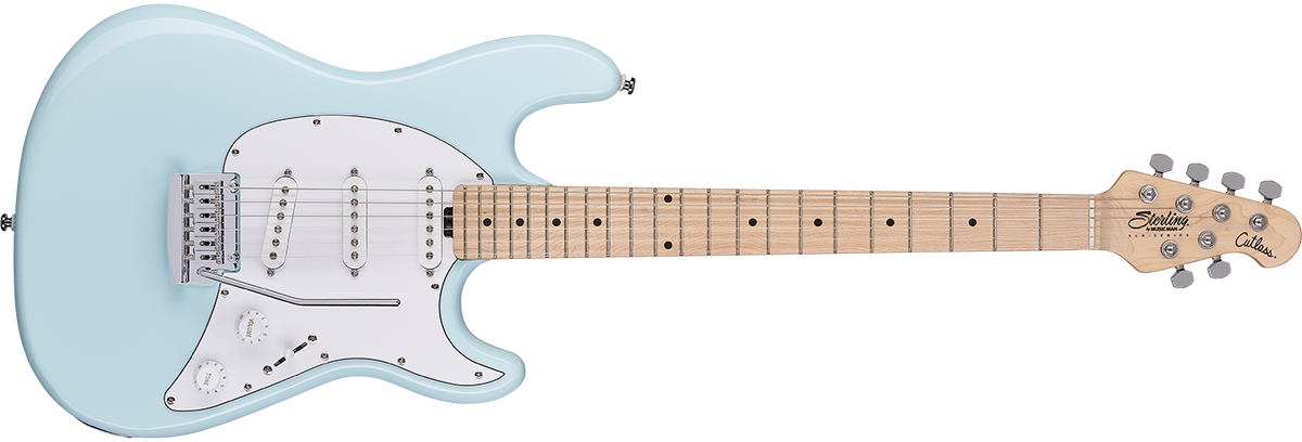 The Cutlass CT30SSS guitar in Daphne Blue front details.