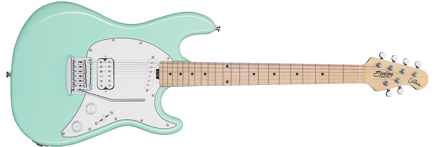The Cutlass Short Scale guitar in Mint Green front details.