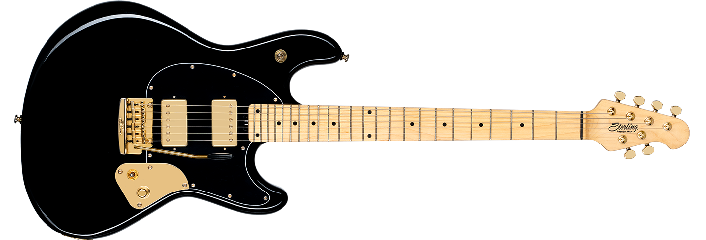 The Jared Dines StingRay guitar in Black front details.