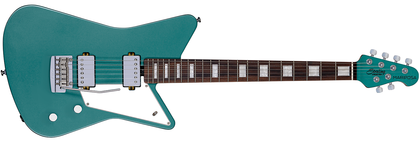 The Mariposa guitar in Dorado Green front details.