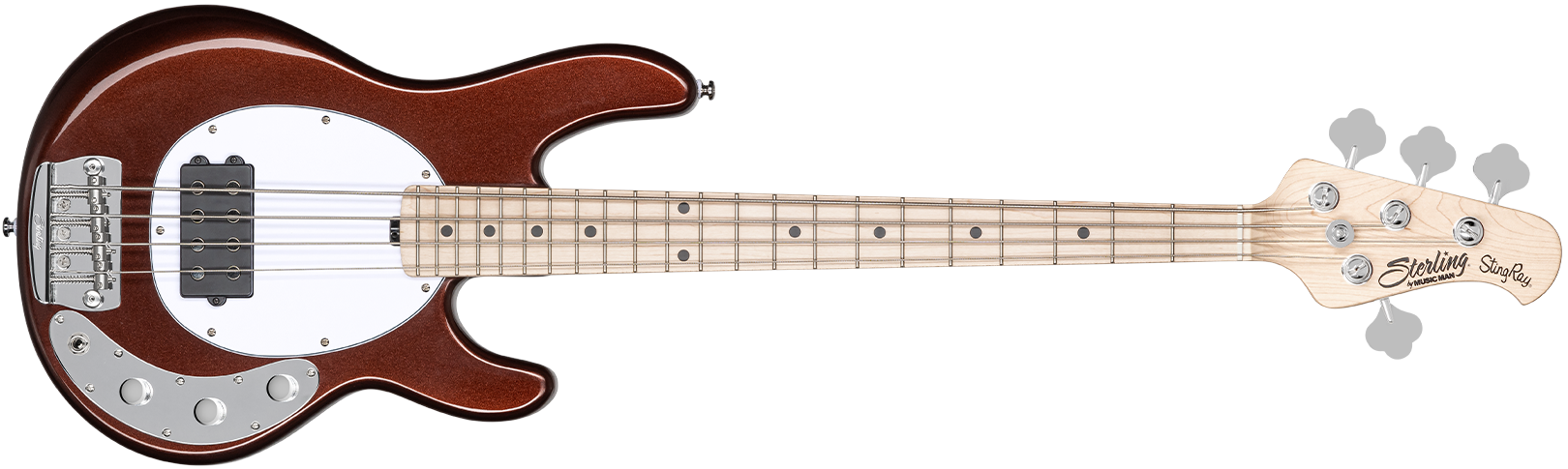 The Stingray Short Scale bass in Dropped Copper front details.