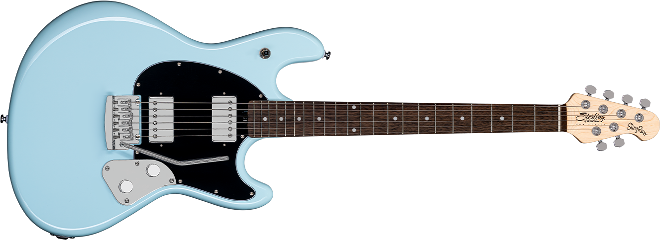 The StingRay guitar in Daphne Blue front details.