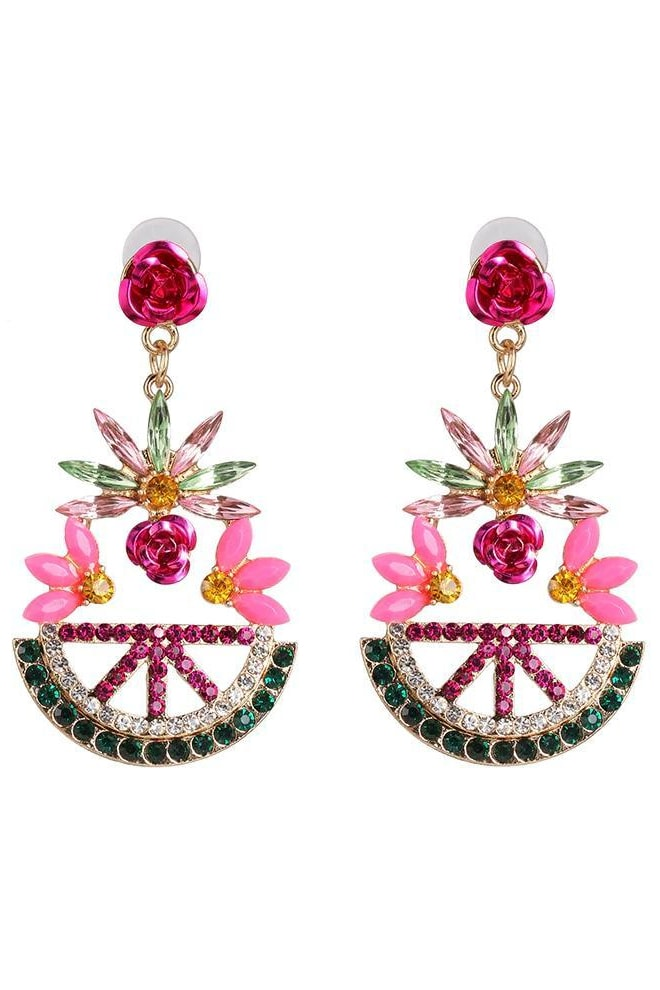 Abby Crystal Earrings - Pink - Jewelry