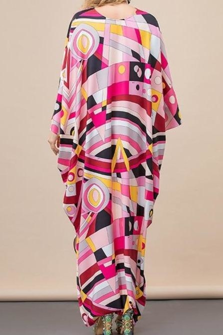 Abstract Batwing Maxi Dress - Clothing