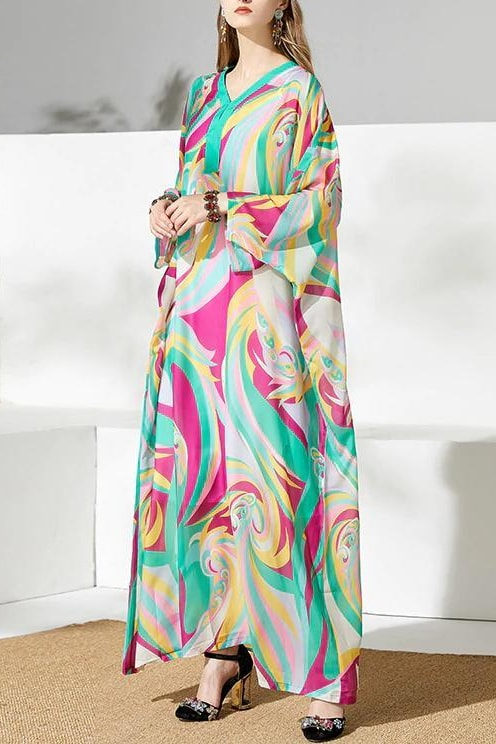 Abstract Loose Maxi Dress - Turquoise / 14 - Clothing