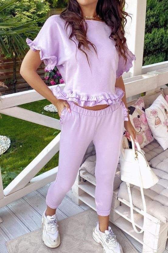 Amanda Two Piece Set - S / Purple - Clothing