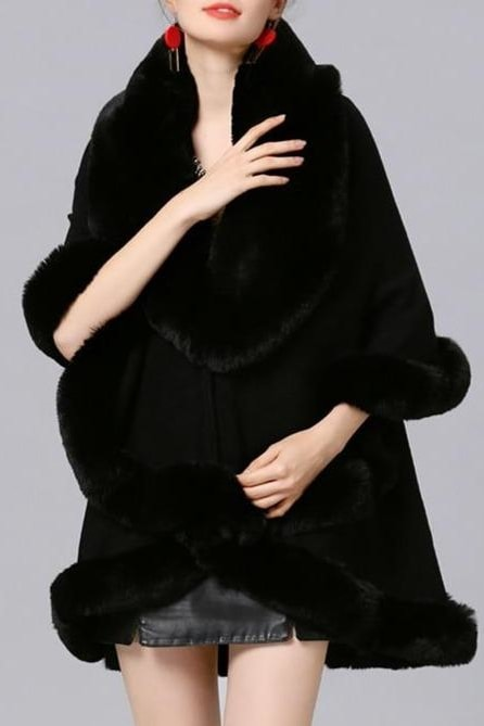 Amelia Faux Fur Poncho - Black / One Size - Clothing