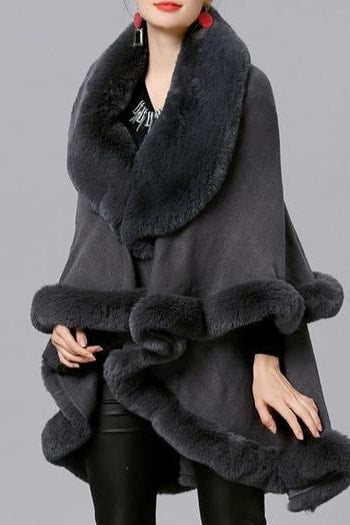 Amelia Faux Fur Poncho - Grey / One Size - Clothing