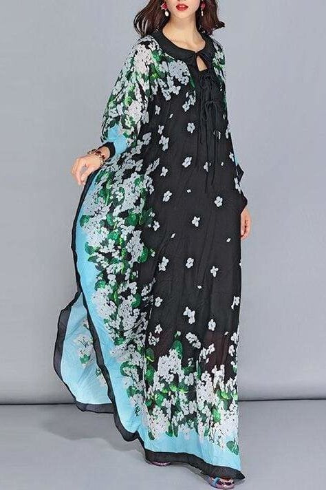 Batwing Floral Maxi Dress - Clothing