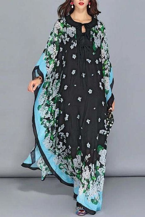 Batwing Floral Maxi Dress - Black / Clothing