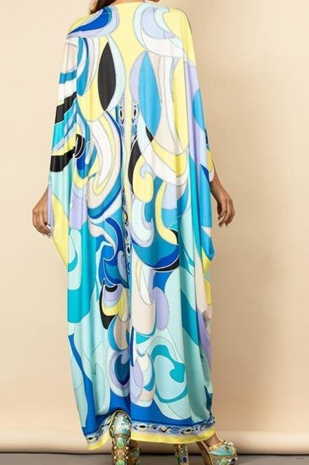 Blue Swirl V-Neck Kaftan Dress - Clothing