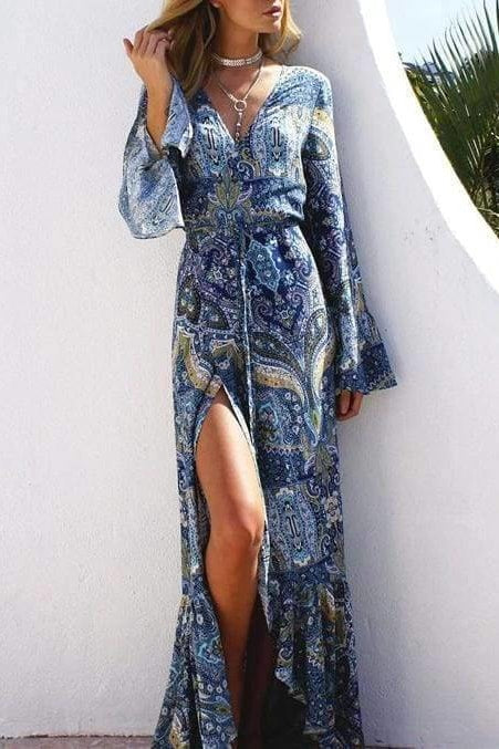 Bohemian Cover Up Dress - Blue / One Size - Cover-Ups