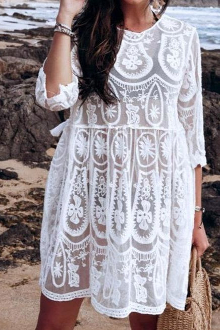 Carson Lace Cover Up - One Size / White - Cover-Ups