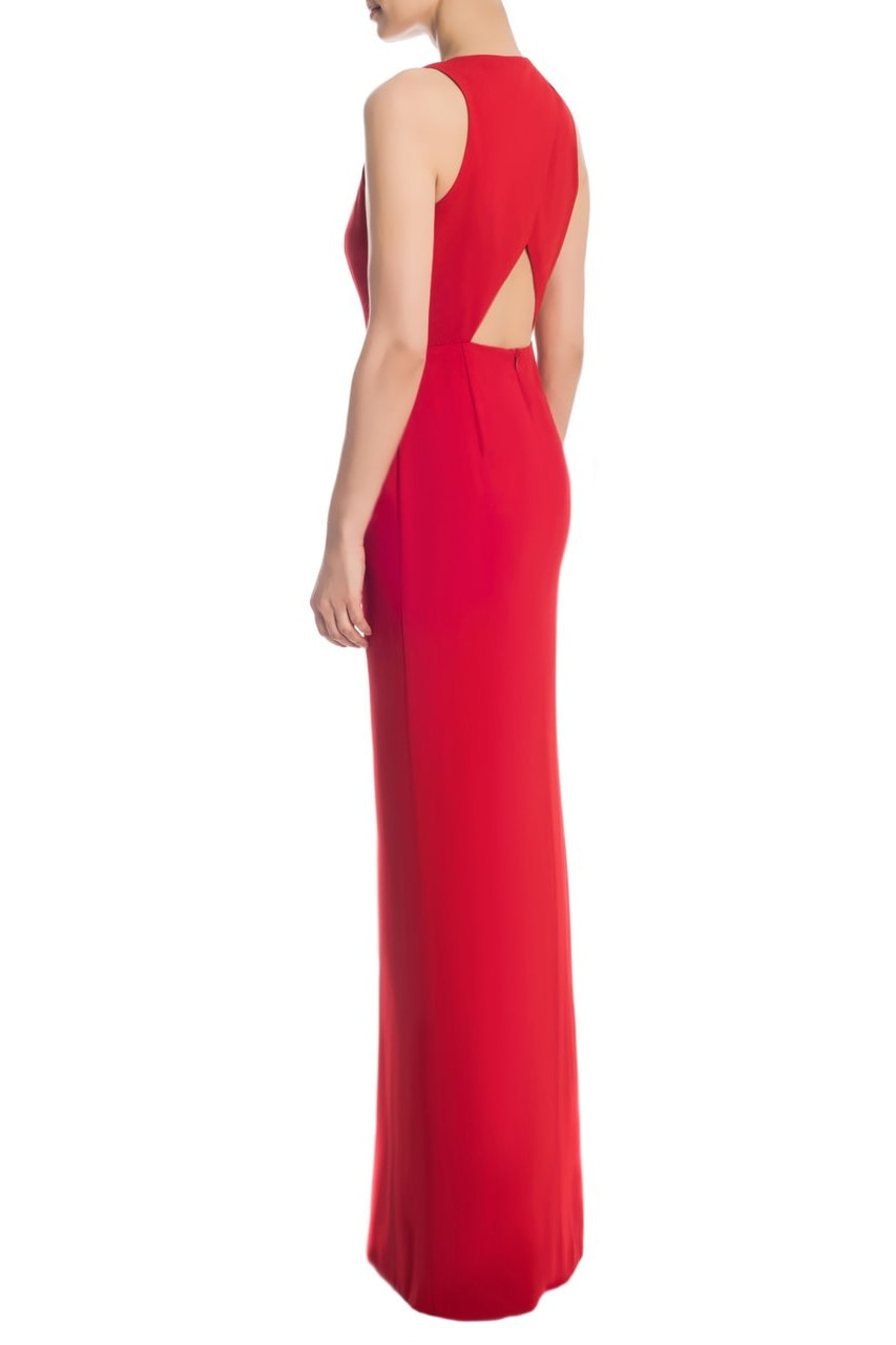 Crepe Crossback Dress (Red) - Clothing